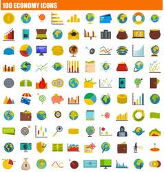 100 economy icon set flat style vector image