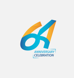 64 year anniversary celebration template design vector