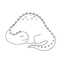 A doodle of cute sleeping dinosaur vector