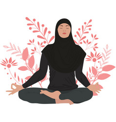 A girl in hijab is engaged in yoga vector