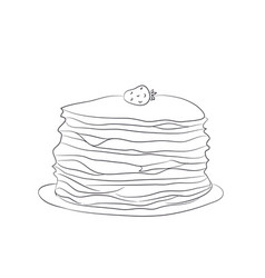A plate of pancakes lines vector
