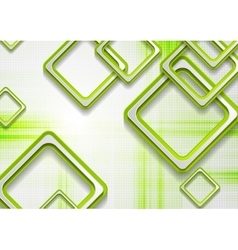 Abstract green squares tech grunge background vector image