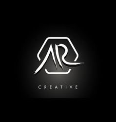 Ar a r brushed letter logo design with creative vector