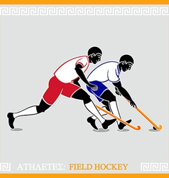 Athletes Field hockey players vector