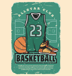 basketball team club retro poster vector image