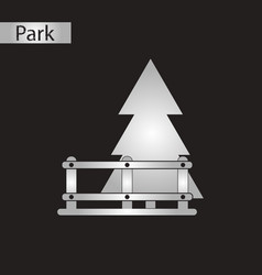 Black and white style icon fir-tree fence vector
