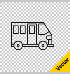 black line school bus icon isolated on transparent vector image