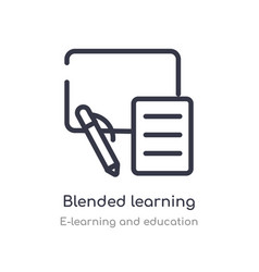 Blended learning outline icon isolated line from vector