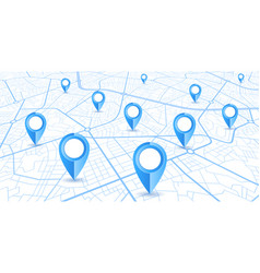 blue gps navigator pins on a blue roads map on vector image