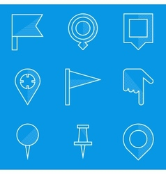 Blueprint icon set Push pin map vector image