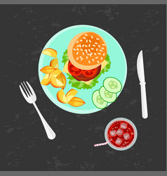 Burger french fries and cola vector