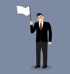 Businessman holds white flag of surrender vector image