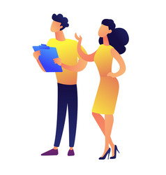 businesssman and businesswoman giving presentation vector image