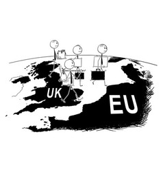 Cartoon of group of businessman leaving uk to vector
