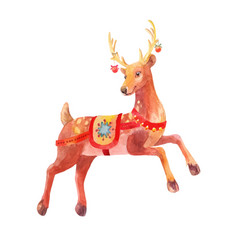 Christmas watercolor deer isolated vector