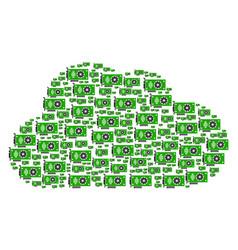 cloud figure of video gpu card icons vector image