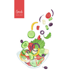 Colorful drawing of greek salad and its vector