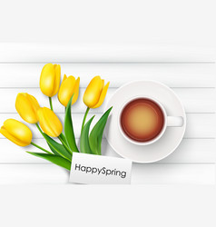 Cup of coffee with yellow tulips and paper vector