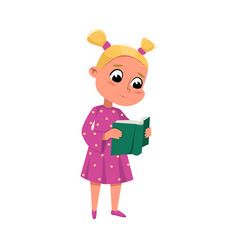 Cute blonde girl reading book while standing vector
