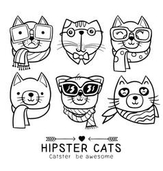 Cute cat series portrait cat hipster vector