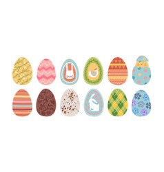 cute easter egg set isolated with spring rabbit vector image