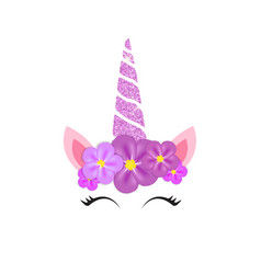 Cute unicorn head and eyes with flower vector