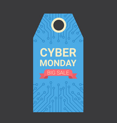 Cyber monday tag motherboard design over black vector