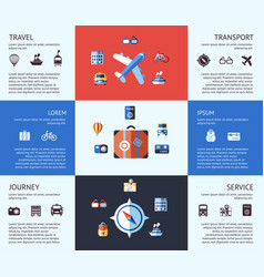 Digital blue red travel icons vector
