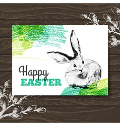 Easter card Sketch watercolor Easter rabbit vector image