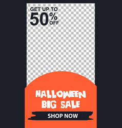 Editable sosial media template halloween sale vector