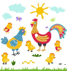 farm birds family cartoon flat rooster hen vector image