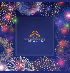 Festive banner with fireworks vector