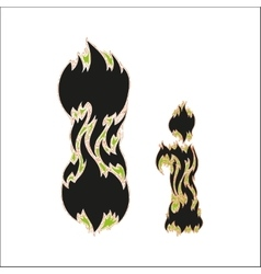 Fiery font black and green letter I on white vector