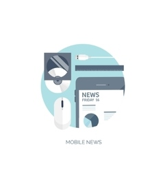 Flat background Online news vector