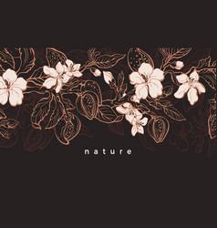 Floral vintage background sketch realistic tree vector