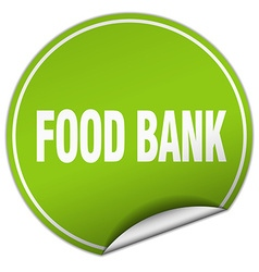 Food bank round green sticker isolated on white vector