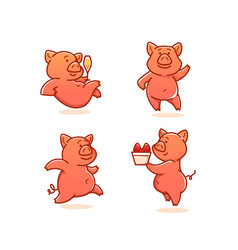 funny pig collection of doodle pigs vector image