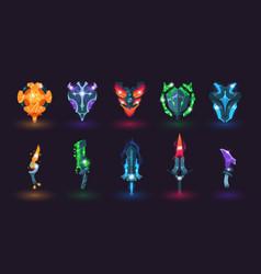 Game swords and shields cartoon various magic vector
