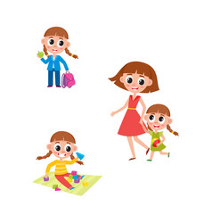 Girl going to school playing walking with mom vector