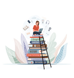 girl sitting on pile books with open laptop vector image