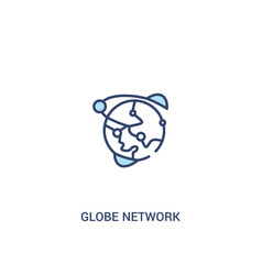Globe network concept 2 colored icon simple line vector