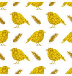 golden birds on a white background vector image