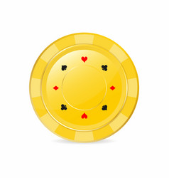 golden gambling chip with suits heart diamond vector image