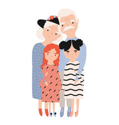 grandma and grandpa embracing their granddaughters vector image