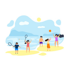 guys play badminton in summer on beach flat vector image
