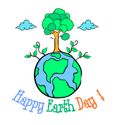 happy eart day with world and tree vector image