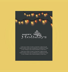 happy holiday tree merry christmas lights vector image