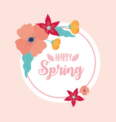 happy spring flowers decoration circle banner vector image