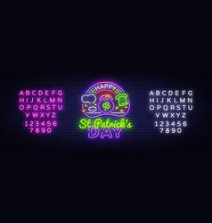 happy st patricks day neon sign happy vector image
