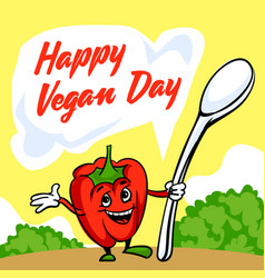 happy vegan day concept background cartoon style vector image